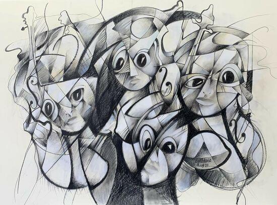 Photo de l'oeuvre 999-1058 - Quatre violonistes